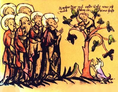 Zacheüs  Duitse prentenbijbel XVe eeuw