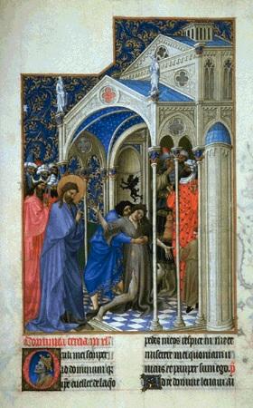 genezing van een bezetene - manuscript 1413-16 - Muzée Concé, Chantilly