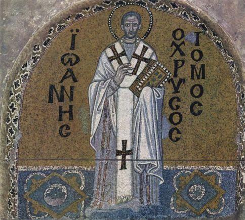 Chrisostomos joh. mozaik in de Hadia Sophia Istanbul 9e eeuw