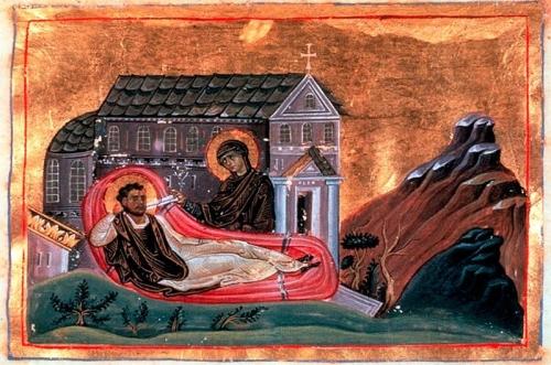 RomanosMelodos (Menologios of Basil II.jpg