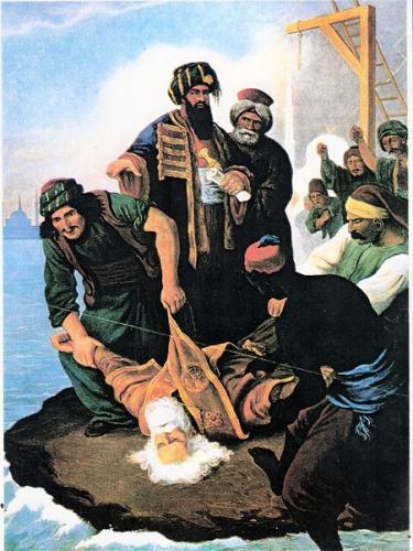 Gregory_V ophanging in de poort van het patriarchaat, schilderij  van  Peter von Hess.jpg