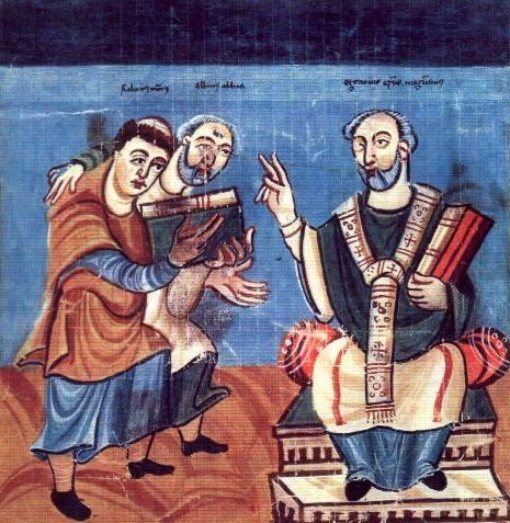 Alcuinus (midden) gesteund door Hrabanus Maurus draagt zijn werk op aan aartsbisschop Olgar van Mainz.jpg